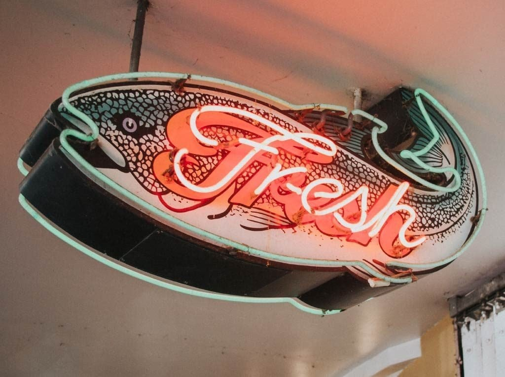 Fresh - Exciting - Authentic (fish sign)
