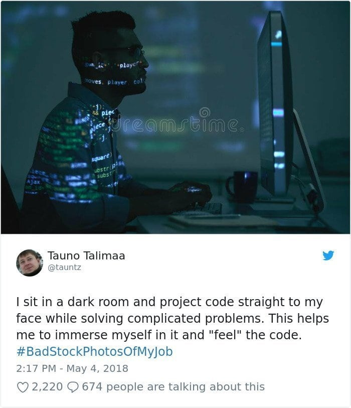 Stock photography gone wrong - coding in the dark