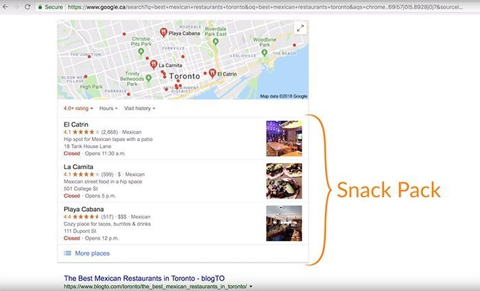 Google Maps Snack Pack